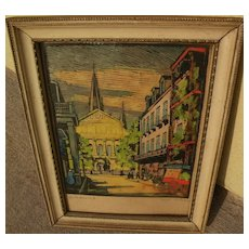 CLARENCE MILLET (1897-1959) Louisiana regionalist art colored woodcut print of New Orleans