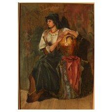 Fine 19th century European watercolor of seated figure