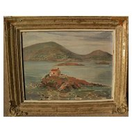 Signed Greek art impressionist painting of coastal islands