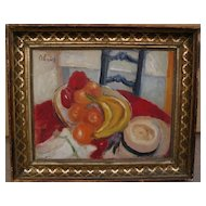 American Victorian antique gold frame with signed modern still life