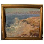 California plein air art coastal scene painting likely listed artist JESSIE R. DEWITT