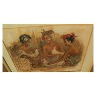 Indonesian art circa 1960 mixed media drawing of figures at a marketplace