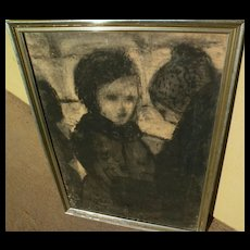 Pastel drawing of mother and child