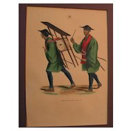 Three 19th century French hand colored prints of Japanese figures