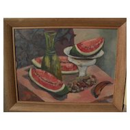American mid century signed modernist still life of fruit