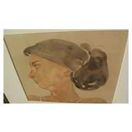 Contemporary signed watercolor painting of a young woman in profile