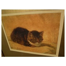 Cat art framed color print after HENRIETTE RONNER-KNIP painting