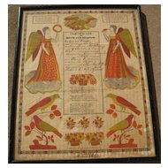 American folk art early 19th century Pennsylvania Dutch fraktur style birth certificate
