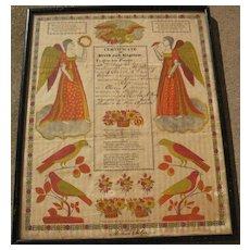 American folk art early 19th century Pennsylvania Dutch fraktur style birth certificate
