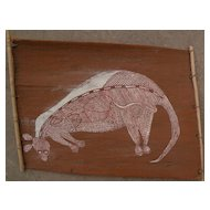 Australian aboriginal art eucalyptus bark painting by ANDREW MUNAKALI KUNWINJKU (ca. 1940-1988)