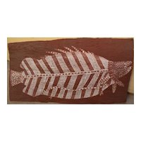 MICK KUBARKKU (1922-2008) Australian aboriginal art eucalyptus bark painting of a barramundi fish by important artist
