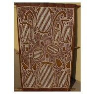 """LEFT HAND GEORGE"" JUNGAWANGA Australian aboriginal art eucalyptus bark painting"