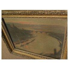 RUDOLF MULLER-GERHARDT (1873-1962) German art fine impressionist pastel drawing of river and bridges at sunset