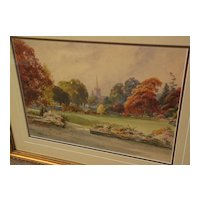 Antique English watercolor autumn landscape painting of scene in Stratford upon Avon