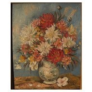 Impressionist small signed floral still life painting circa 1960's