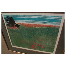 WALTER WILLIAMS (1920-1998) rare edition of ten color woodblock print by African-American artist