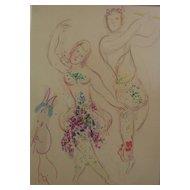 """MARC CHAGALL (1887-1985) original lithograph print """"Le Ballet:  Daphnis et Chloe"""", 1969"""