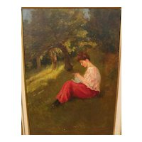 A. MORENO DE TORRES (Argentinian, 19th/20th century) oil painting of young woman on a grassy slope in a forest glade‏