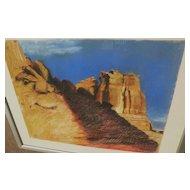 Utah 1969 impressionist pastel landscape drawing signed