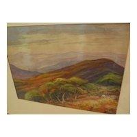 ELIZABETH HOEN (1868-1955) Northern California art impressionist watercolor landscape painting