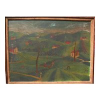 Haitian Art naive style painting of figures in a country landscape signed M. SANON