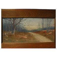 NEIL REID MITCHILL (1858-1934) fine watercolor painting of a country track by American artist