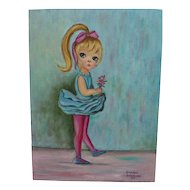 Big Eye school 1964 painting of young girl in Margaret Keane style