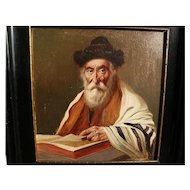 Jewish art early 1900's signed painting of a rabbi or holy man