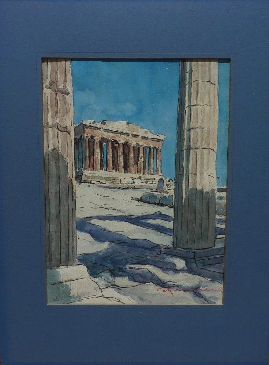 Contemporary Signed Greek Watercolor Painting Of The