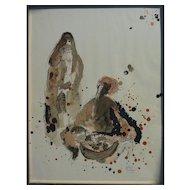 REUVEN RUBIN (1893-1974) Jewish art pencil signed lithograph print by major Israeli artist