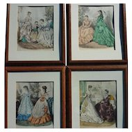 SET OF 4 French Victorian fashion prints from La Mode Illustree circa 1875
