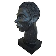 Terra cotta original sculpture of a man's head signed MARION GOODMAN