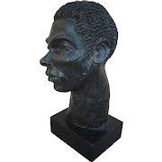 Terra cotta original sculpture of a man's head signed MARION GOODMAN