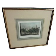 """Antique circa 1850 hand colored engraving """"New York"""" nicely framed and matted"""