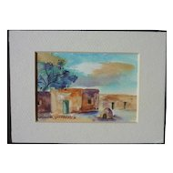 New Mexico art small watercolor painting of adobe village signed ROSALDA SPECKLED ROCK