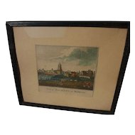 "English circa 1780's hand colored print ""View of Hackney in Middlesex"""