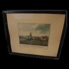 """English circa 1780's hand colored print """"View of Hackney in Middlesex"""""""