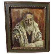 JEHUDA RODAN (1916-1985) Jewish art painting of old holy man by listed Romanian artist‏