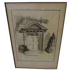 Fine pencil drawing of traditional New England doorway signed Don Brown