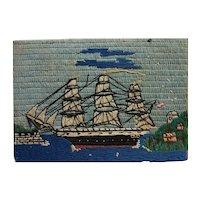 Folk art woolie needlework picture of clipper ship