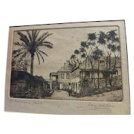Vintage Bermuda etching pencil signed by artist Ray Allen