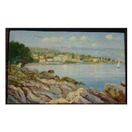 Lovely old European impressionist coast painting