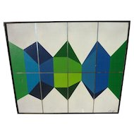 Signed Mid Century painting of colorful geometric shapes dated 1974
