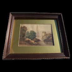 Old watercolor painting of castle in landscape dated 1882