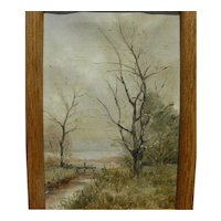Late nineteenth century small English landscape painting signed with initials
