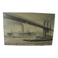 Marine art fine original pencil drawing of old time steamboat under Brooklyn Bridge by artist James Karvelas