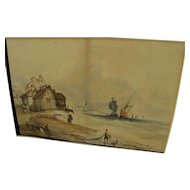 Antique mid 19th century English watercolor painting of a coast