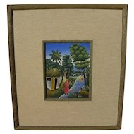 Haitian art colorful landscape painting of tropical village with figures