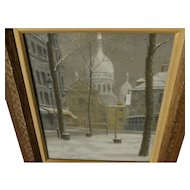 Fine impressionist pastel Paris drawing Montmartre in the snow signed Badenhop