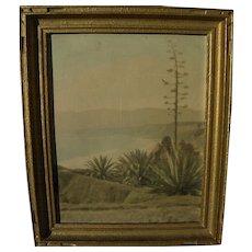 Circa 1930's colorized photo of Santa Monica Bay California